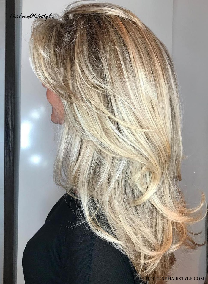 Brunette Balayage for Thick Hair - 50 Cute Long Layered Haircuts with Bangs 2019 - The Trending ...