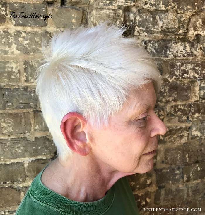 70+ White Spiky Pixie for Straight Hair