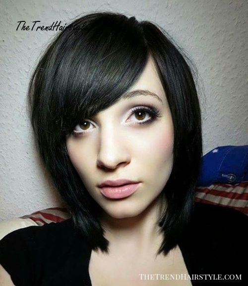 A-line bob with side bangs