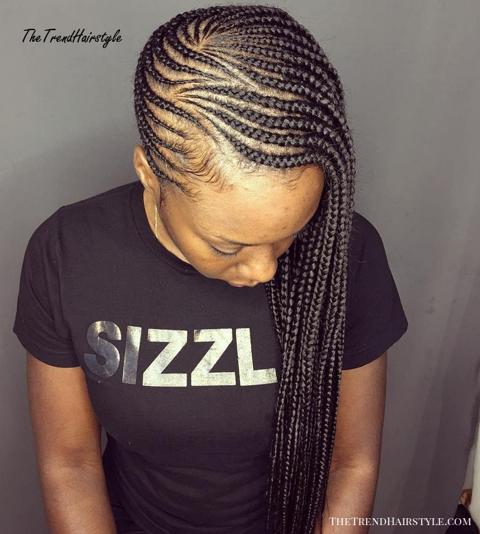 African American Asymmetrical Side Braids