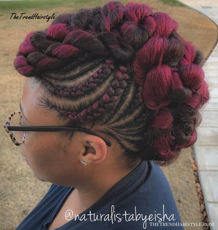 African American Braided Mohawk Updo