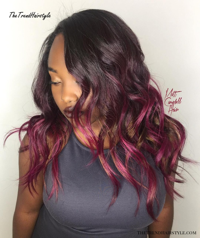 African American Burgundy Balayage Hairstyle
