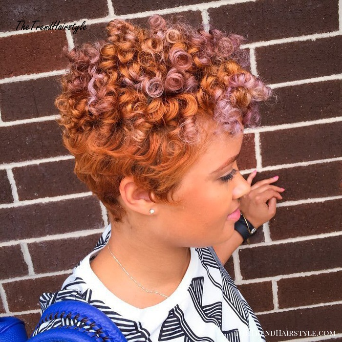 African American Curly Copper Pixie