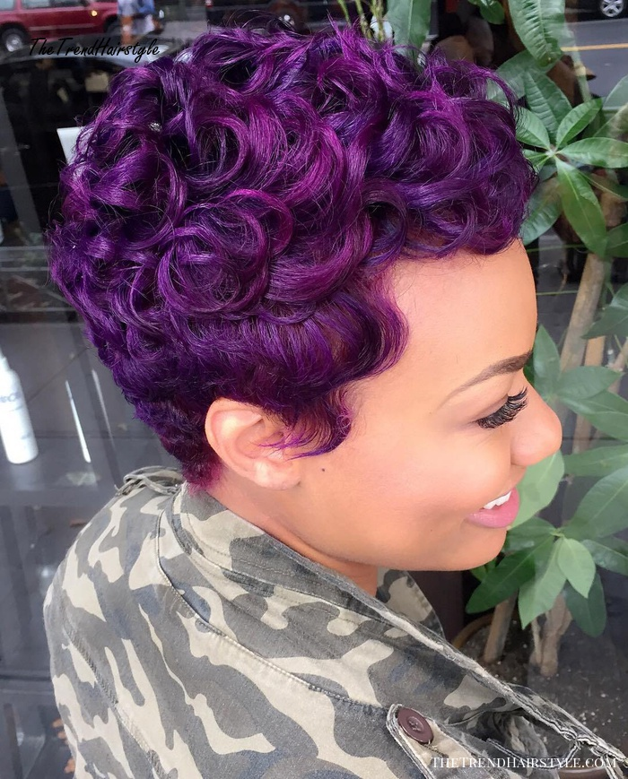 African American Purple Curly Pixie