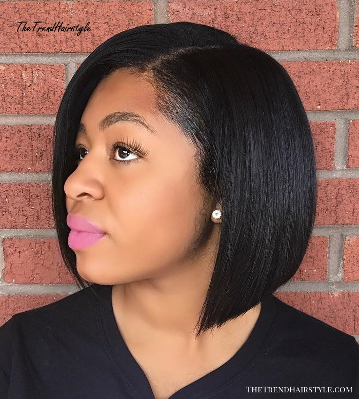 African American Straight Side-Parted Bob