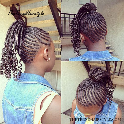 African American braided ponytail for girls