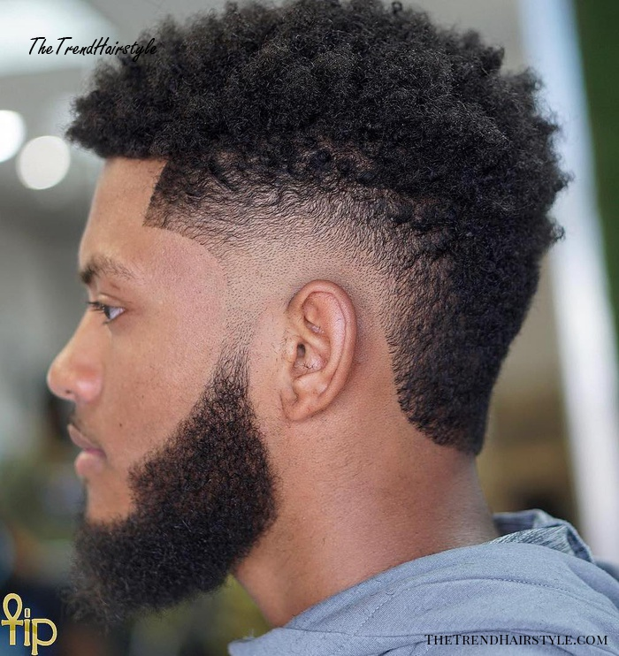 Afro With Burst Fade And Beard