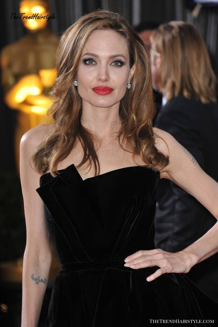 Angelina Jolie long hairstyle for square face