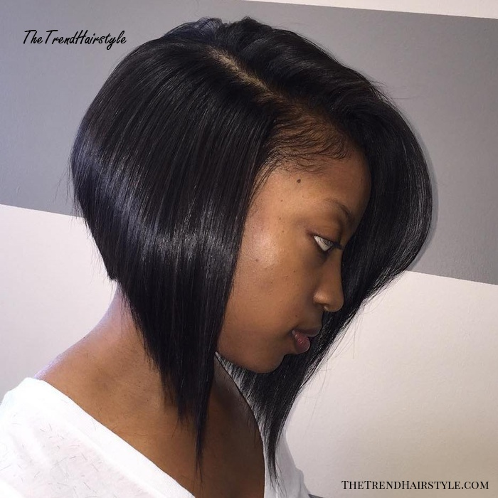 Angled Bob With Side Part
