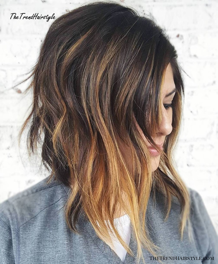 Angled Brown Lob With Caramel Balayage