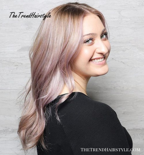 Ash Blonde And Pastel Purple Hairstyle