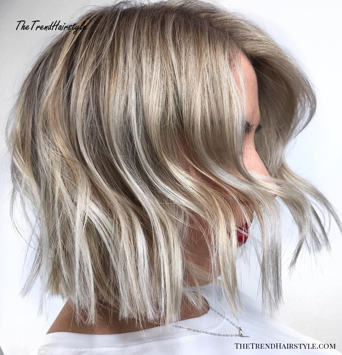 Ash Blonde Bob With Silver Ends