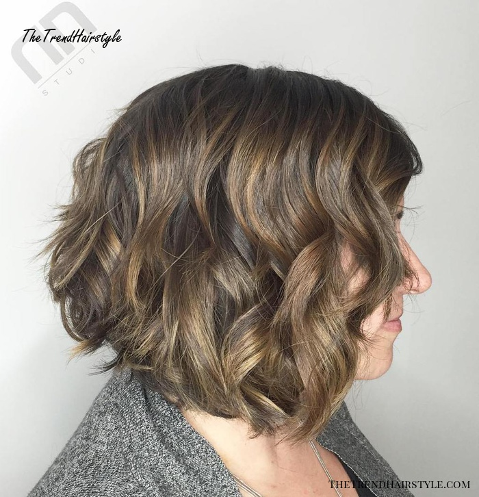 Ash Brown Bob With Golden Blonde Highlights