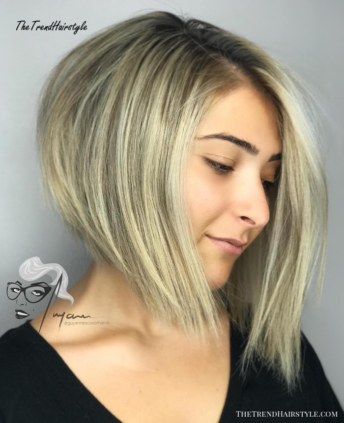 Angled Bob with Razored Ends - 50 Cute Looks with Short Hairstyles for Round Faces - The ...