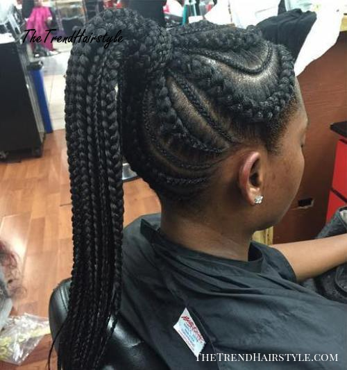 Big And Small Cornrows With A High Ponytail