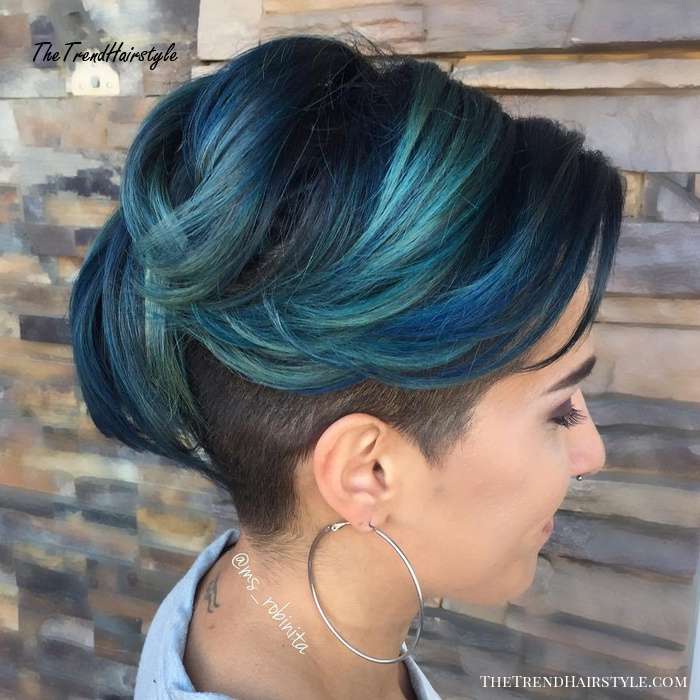 Black And Pastel Blue Undercut