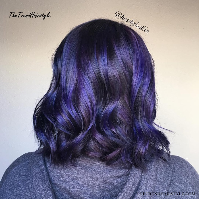 Black Bob With Blue And Purple Highlights