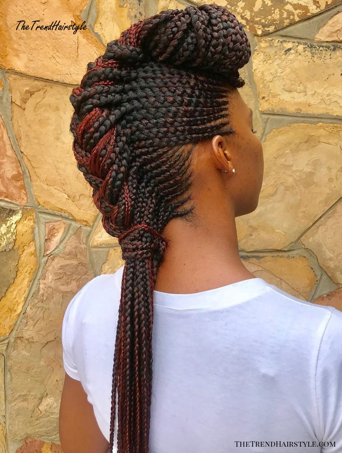 Black Braided Mohawk With Pompadour