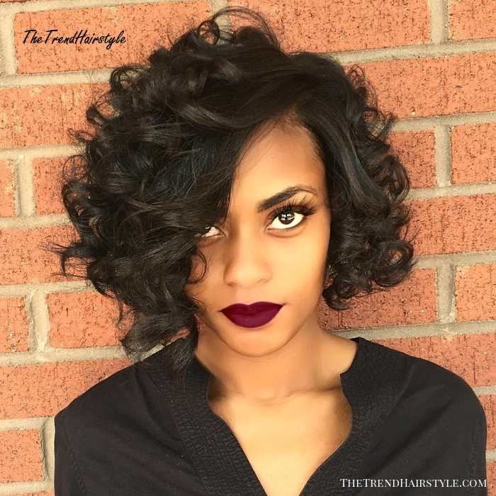 Black Curly Side Parted Bob