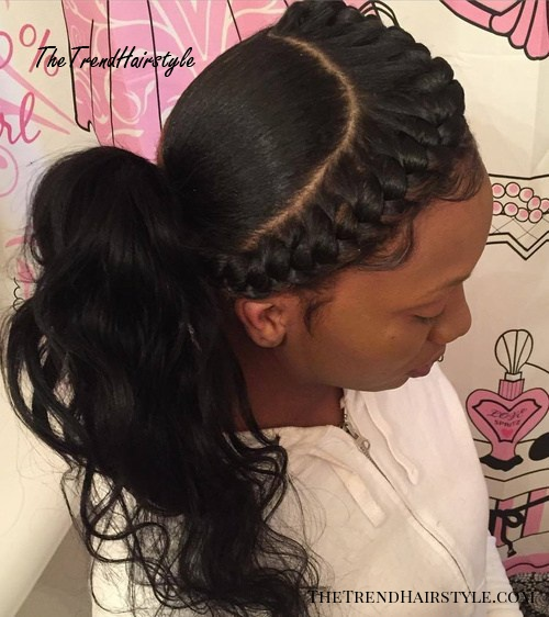 Black Ponytail With A Goddess Braid