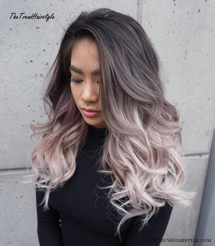 Black To Ash Blonde Ombre Hair
