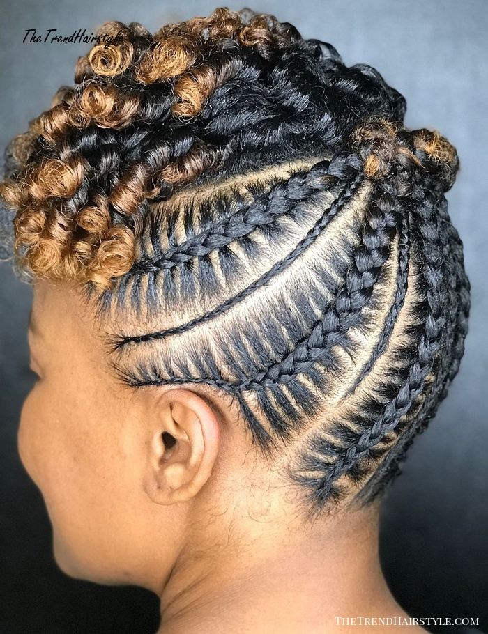 Black Updo With Cornrows And Highlights