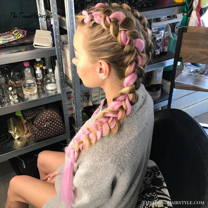 Blonde And Baby Pink Boxer Braids