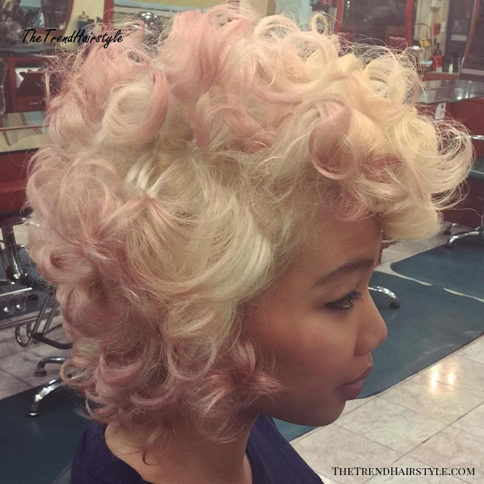 Blonde And Light Pink Curly Hairstyle