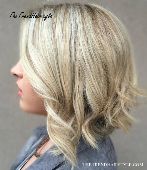 Blonde Balayage Bob With Curly Ends