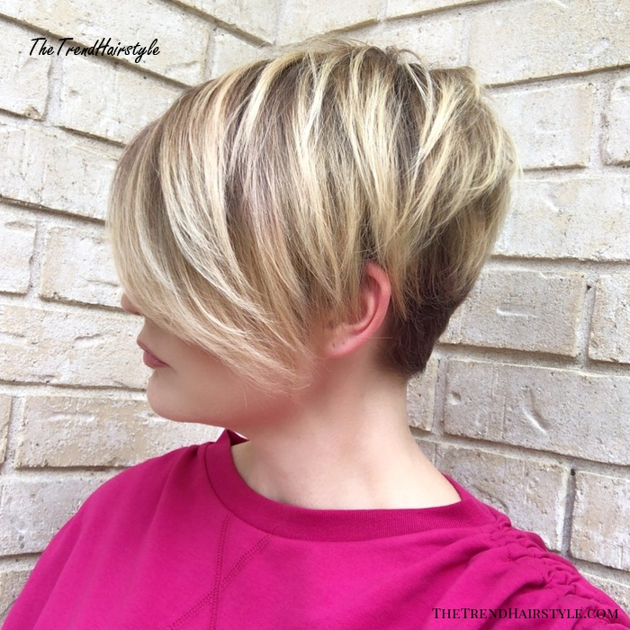 Blonde Balayage Pixie With Long Side Bangs