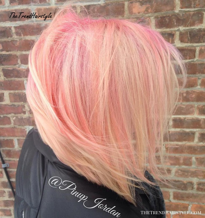 Blonde Bob With Pink Balayage