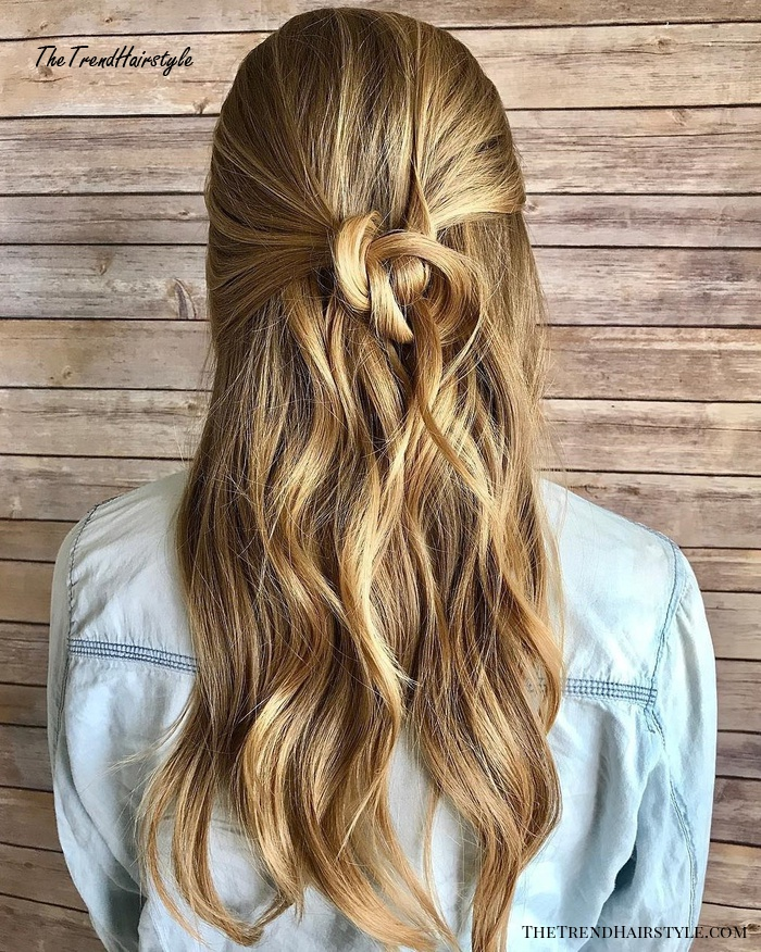 Blonde Half Updo With A Knot