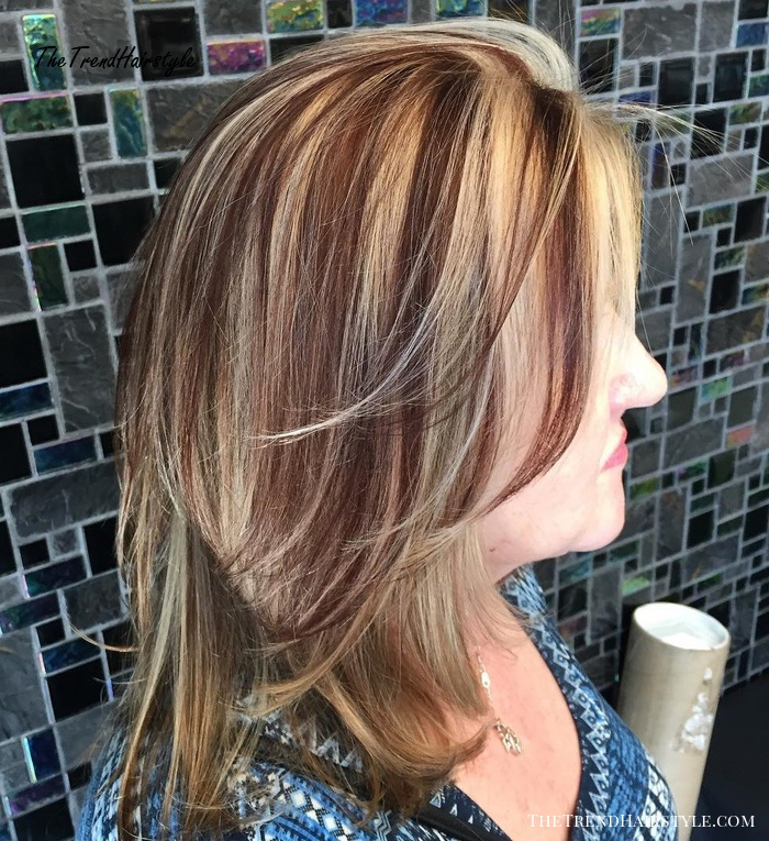 Blonde Layers with Auburn Highlights
