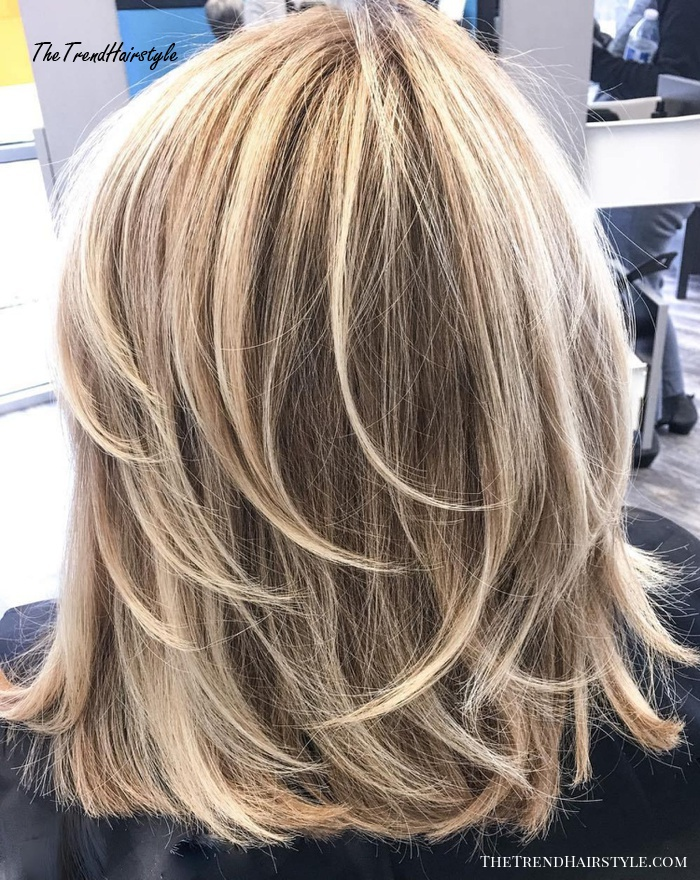 Blonde Lob With Feathered Layers