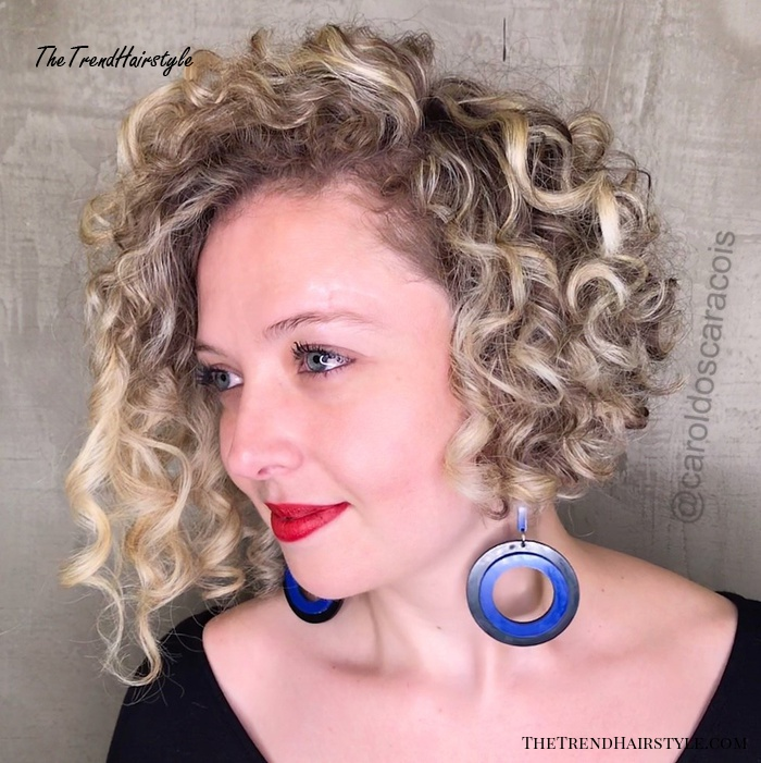 Blonde Naturally Curly Bob