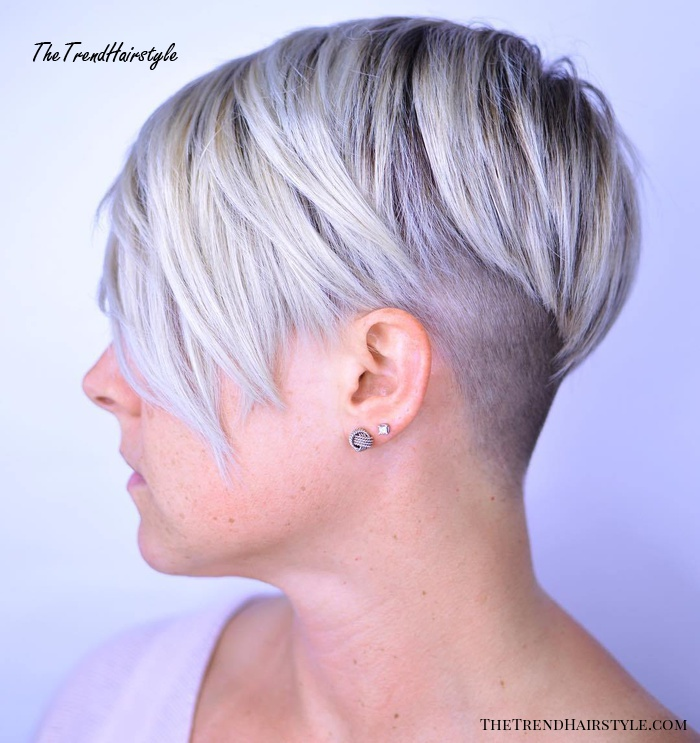 Blonde Pixie With Shaved Nape