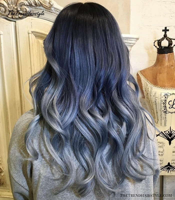 Blue And Gray Ombre For Brunettes