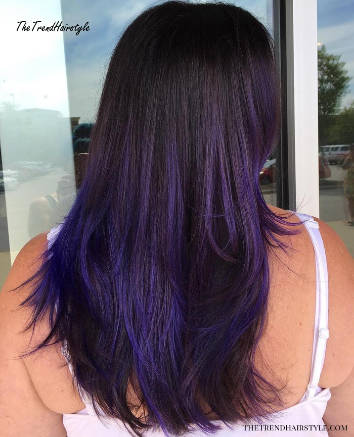 Blue And Purple Balayage For Brunettes