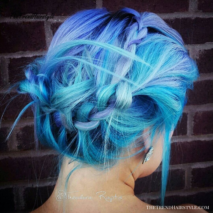 Blue And Purple Messy Updo