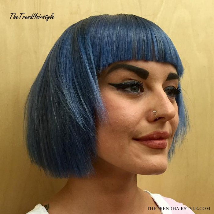 Blue Layered Bob With Blunt Bangs