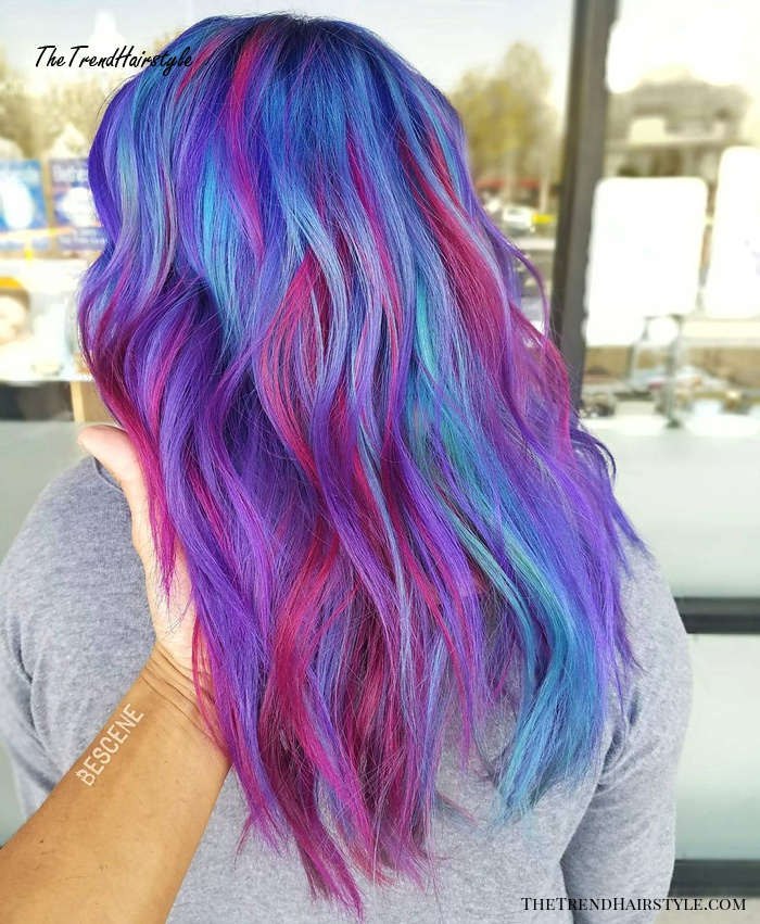Blue, Magenta And Teal Hair Color