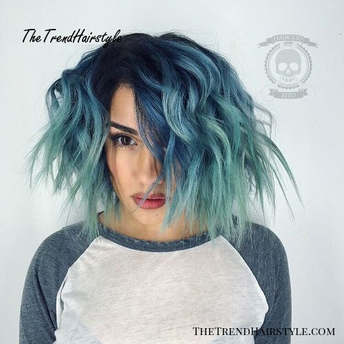 Blue To Teal Ombre Lob With Black Roots