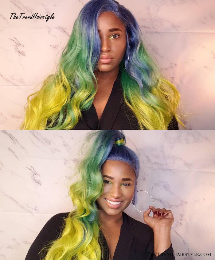 Blue To Yellow Long Wig