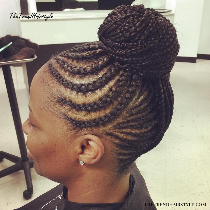 Braided Bun With Curvy Cornrows
