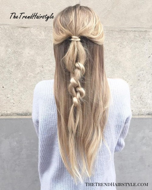 Braided Half Updo With Side Parts
