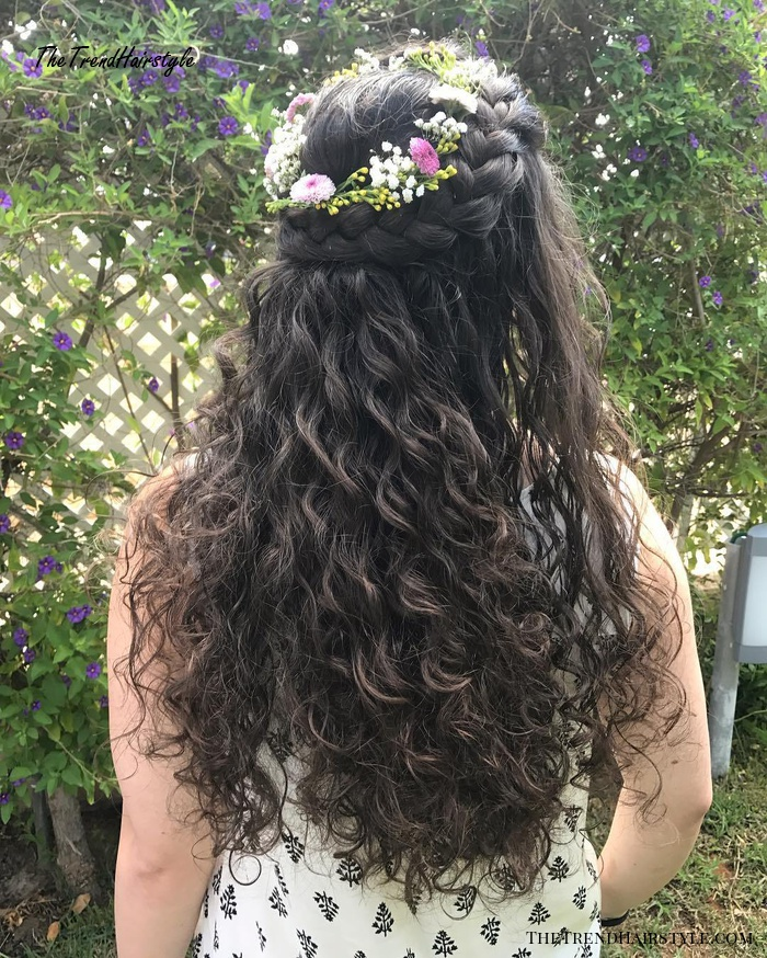 Braided Half Updo for Curly Hair