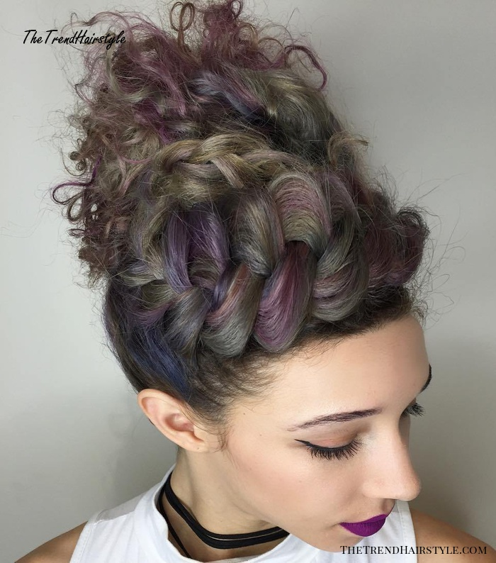 Braided Messy Curly Updo