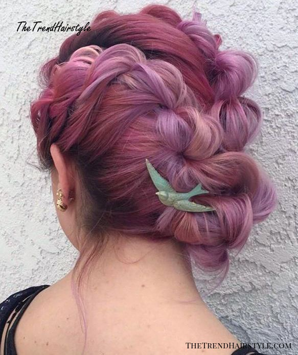 Braided Updo For Pastel Pink Hair