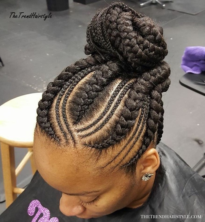 Braids-Into-Bun Updo