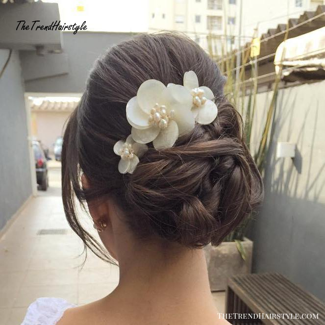 Bridal Bun Updo With Flowers